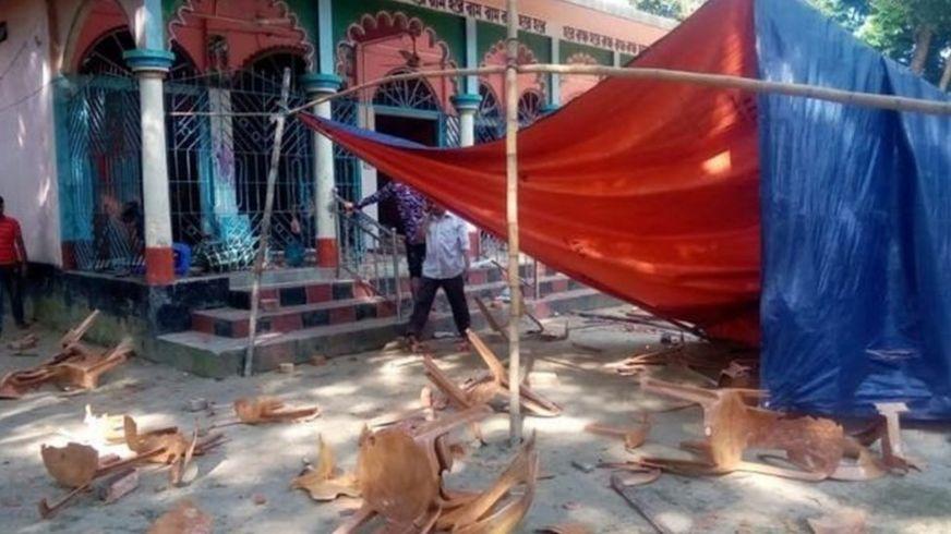 নাসিরনগরে ক্ষতিগ্রস্ত একটি মন্দির