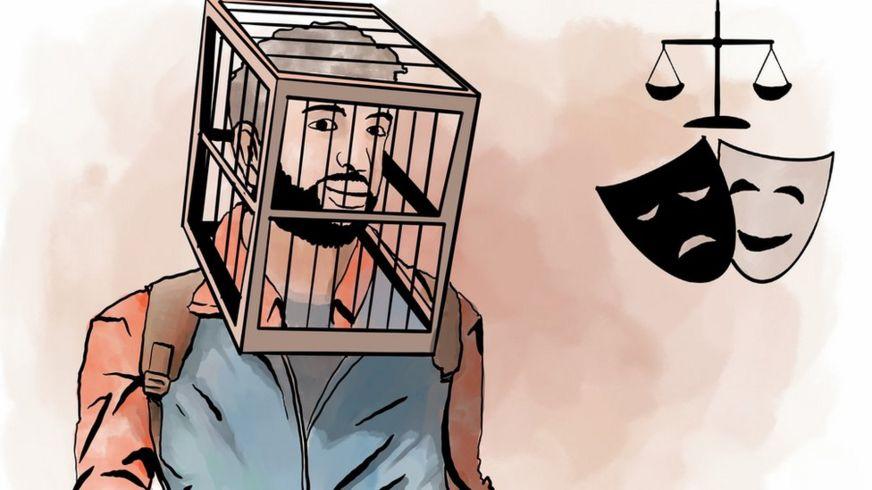 Эльмин Бадалов пришёл на первый суд с клеткой на голове