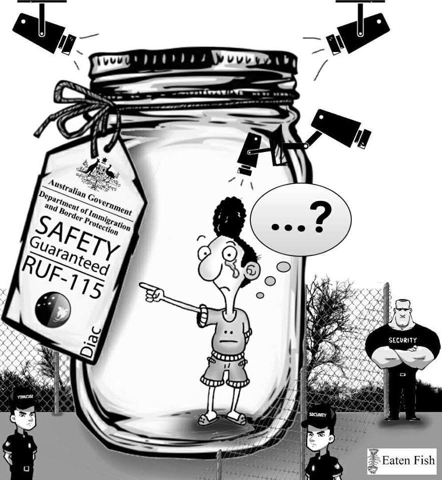 Cartoon showing a tearful Ali Dorani trapped in a jar, surrounded by security cameras