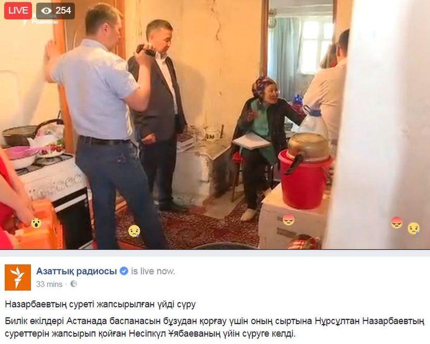 Screen grab of Facebook post by Azattyq showing Nesipkul Uyabaeva in her home