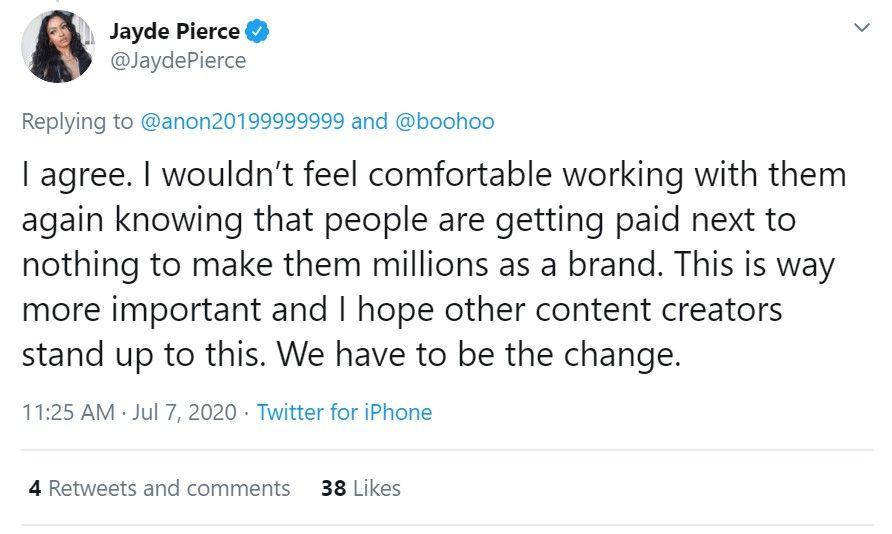 Jayde Pierce tweet