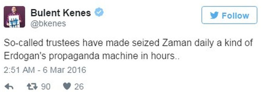 Tweet by former Zaman journalist Bulent Kenes attacking his old paper's owners - 6 March 2016