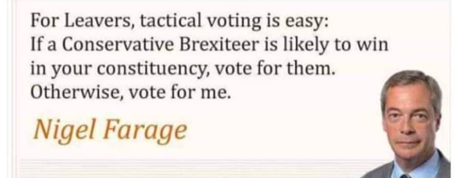 'For Leavers, tactical voting is easy: if a Conservative Brexiteer is likely to win in your constituency, vote for them. Otherwise, vote for me.' Nigel Farage