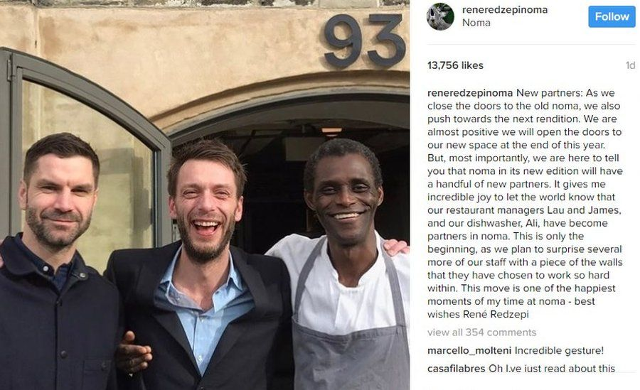Noma restaurant managers James Spreadbury and Lau Richter, and dishwasher Ali Sonko pose together on Instagram