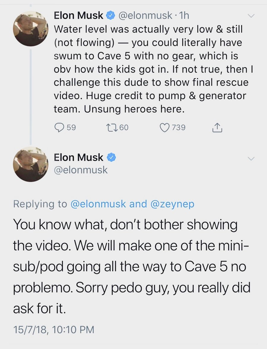 Tweets from Elon Musk captured before he deleted them
