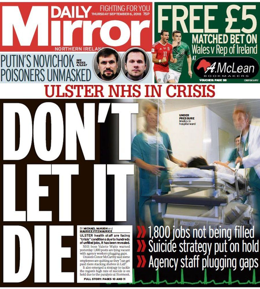 Daily Mirror front page 06/09/18