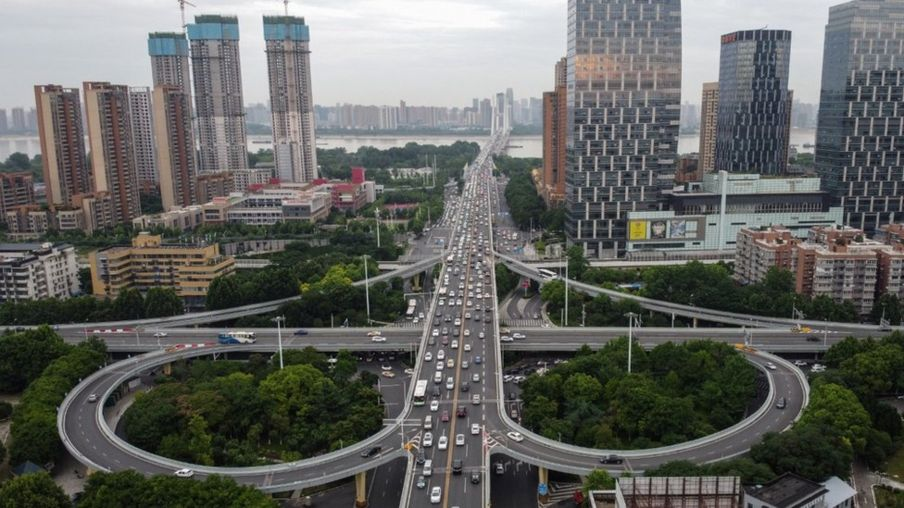 A view of a highway in Wuhan