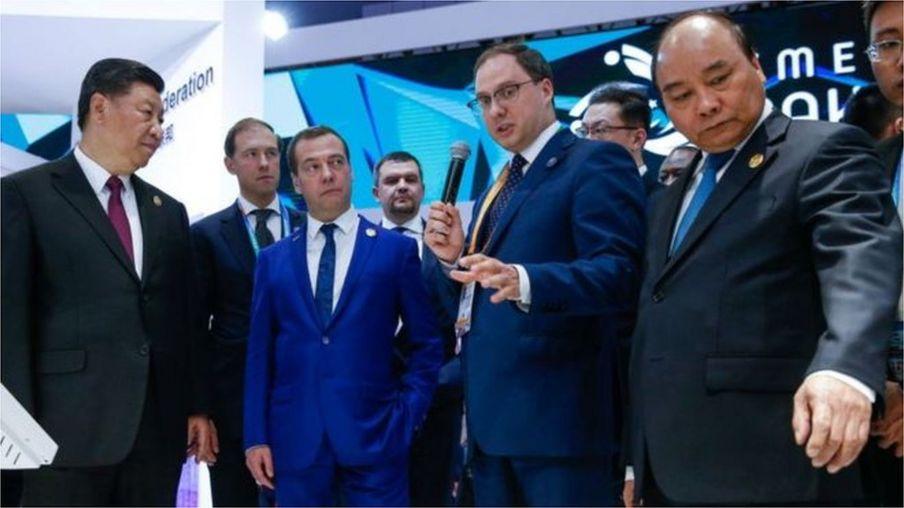 Chủ tịch Trung Quốc Tập Cận Bình, Thủ tướng Nga Dmitry Medvedev, và Thủ tướng Nguyễn Xuân Phúc tại Triển lãm Triển lãm Nhập khẩu Quốc tế Trung Quốc hồi tháng 11/2018