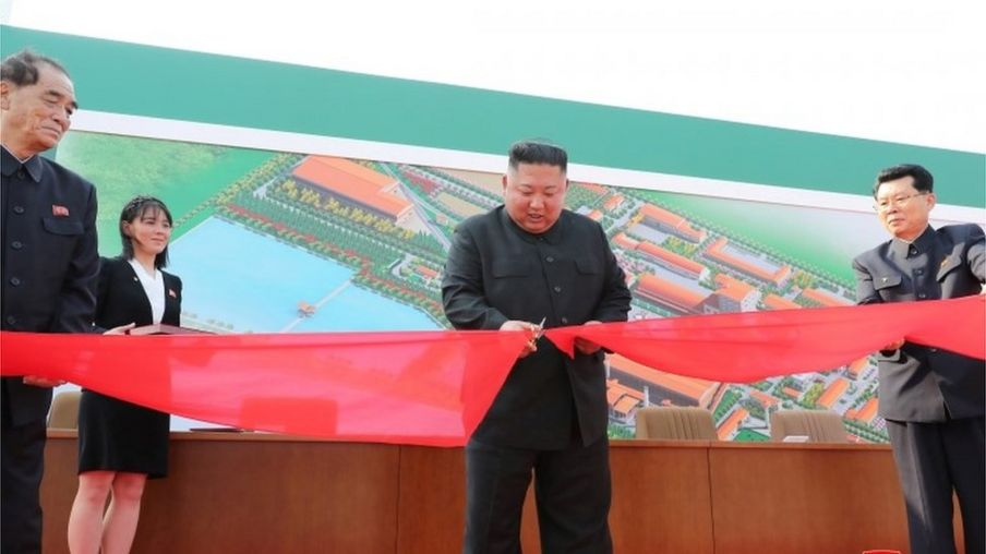 North Korea's leader Kim Jong-un pictured by state media opening a fertiliser factory on 1 May 2020