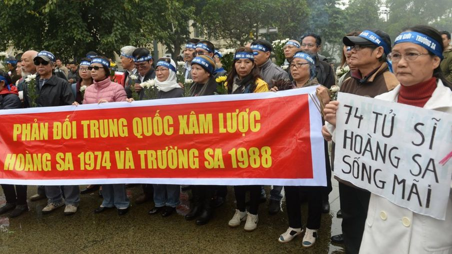 Hình chụp ngày 19/1/2017, khi diễn ra một cuộc tuần hành kỷ niệm sự kiện 1974 của người dân ở Hà Nội