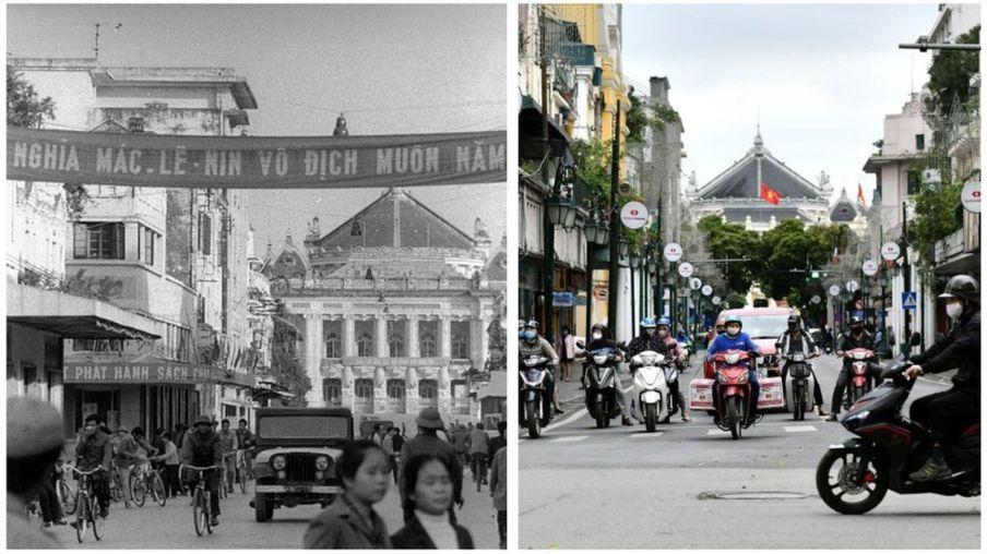 Hình ảnh trung tâm Hà Nội 1976 và 2020