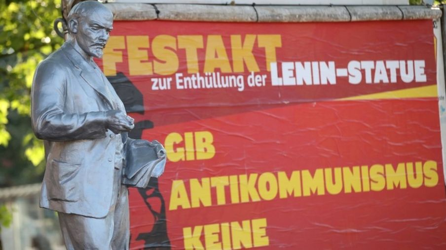 The statue of Lenin is seen after its unveiling in Gelsenkirchen
