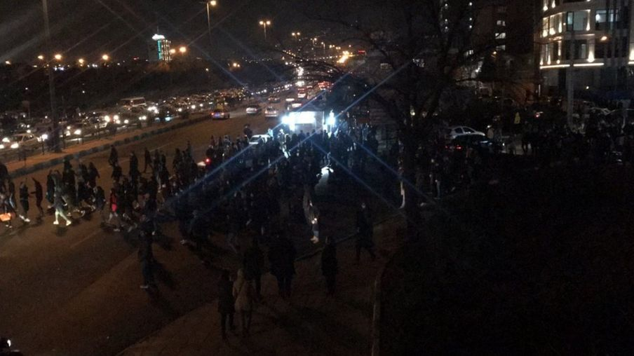 Anti-government protest near Azadi Square in Tehran on 12 January 2020