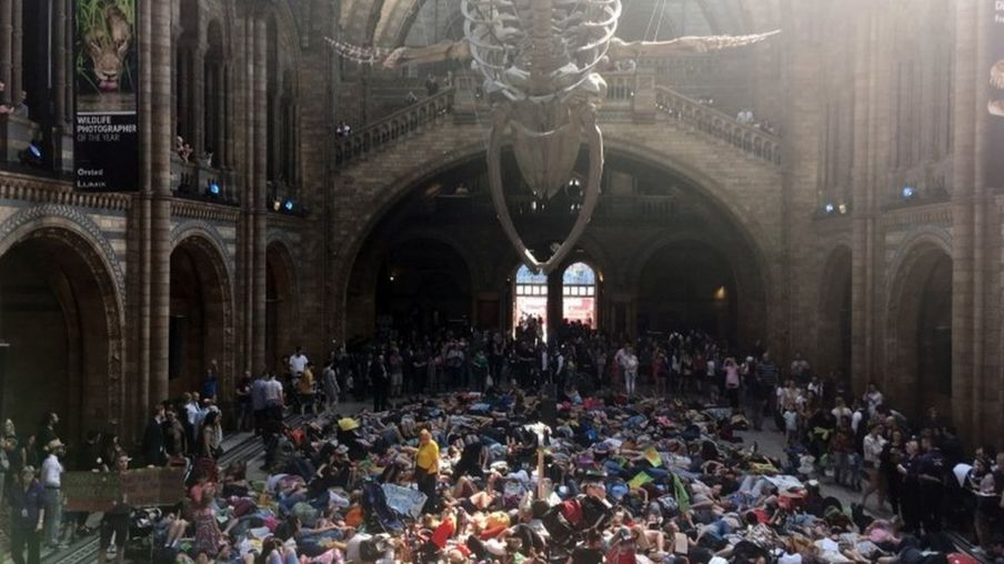 Protesters at the Natural History Museum