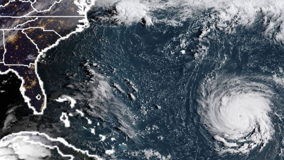 This NOAA/RAMMB satellite image taken at 11:45 UTC on September 10, 2018, shows Hurricane Florence off the US east coast in the Atantic Ocean.