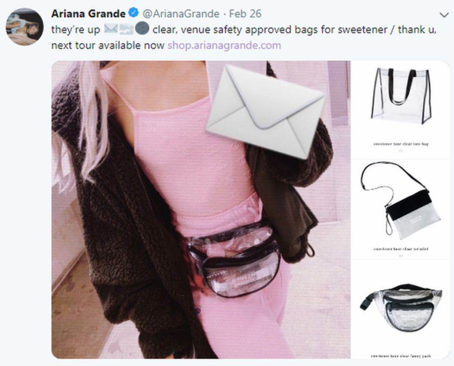 Screengrab from Twitter showing bags on sale at Ariana Grande concert