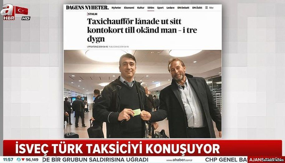 Tukish TV showing a photo of the businessman and the taxi driver in a Swedish Newspaper