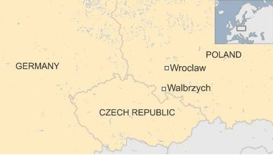Map of Poland showing Wroclaw and Walbrzych - August 2015