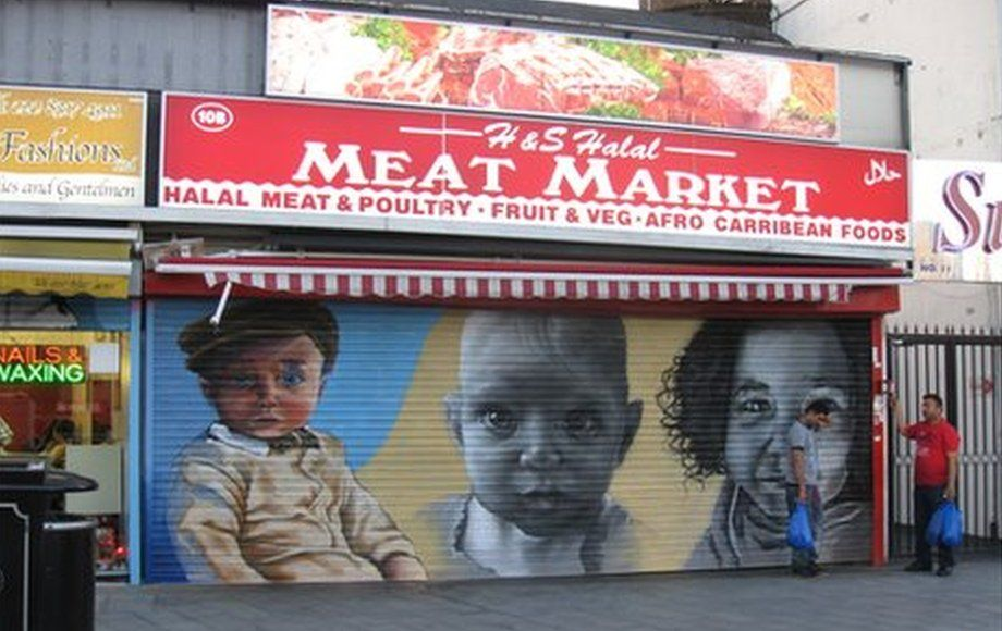 Babies painted on shop shutter