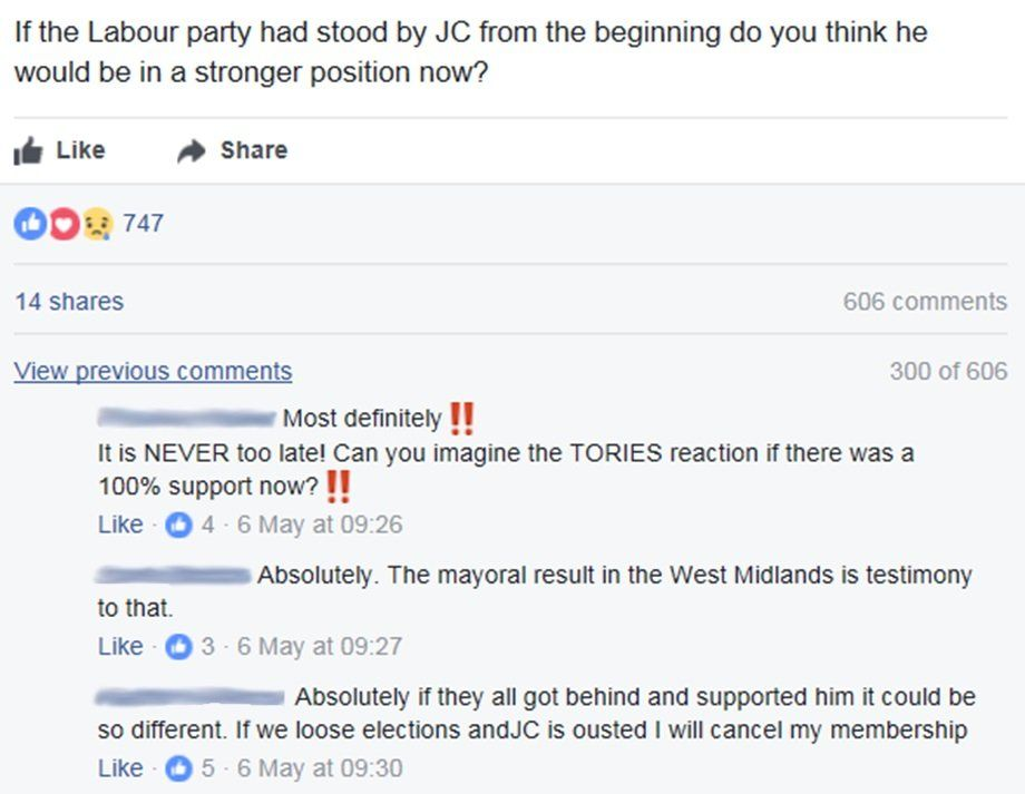 Post reads: If the Labour party had stood by JC from the beginning do you think he would be in a stronger position now?