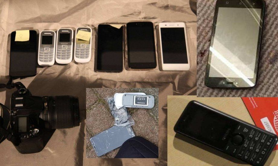 Pictures of the mobile phones collected