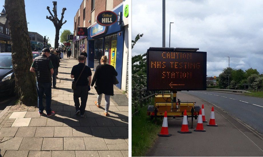 Photos sent to BBC News by show obstacles on pavements or queues outside shops
