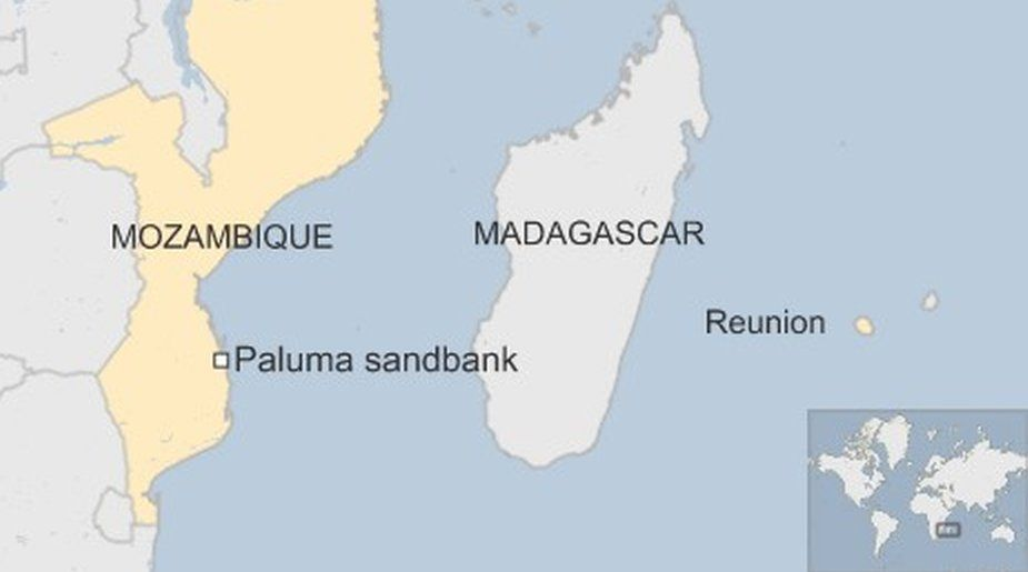 Map showing Mozambique