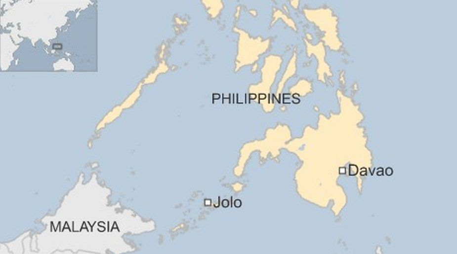 Map showing Jolo and Davao