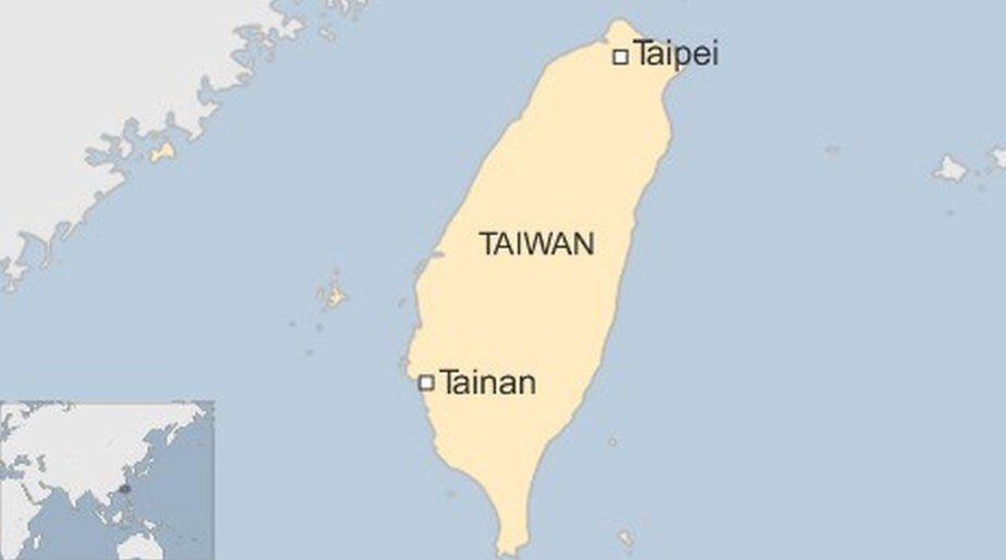 Map showing Tainan