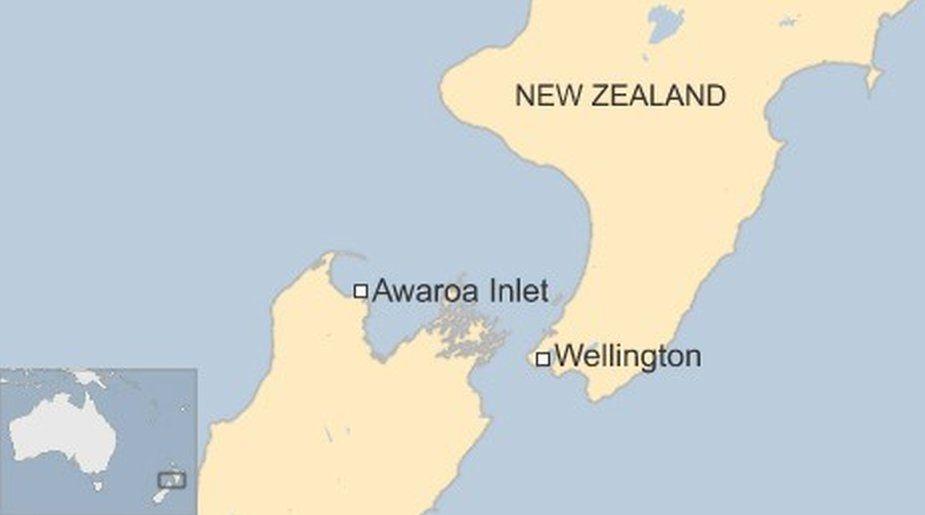 Map showing Awaroa Inlet