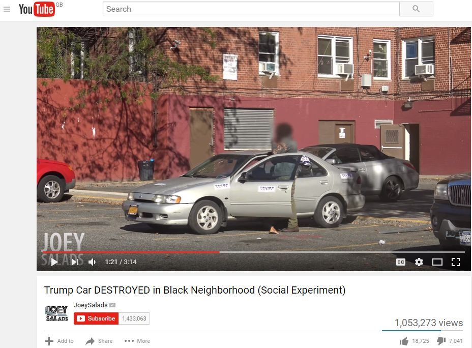 In the staged footage, one young man approaches the car and opens the unlocked door