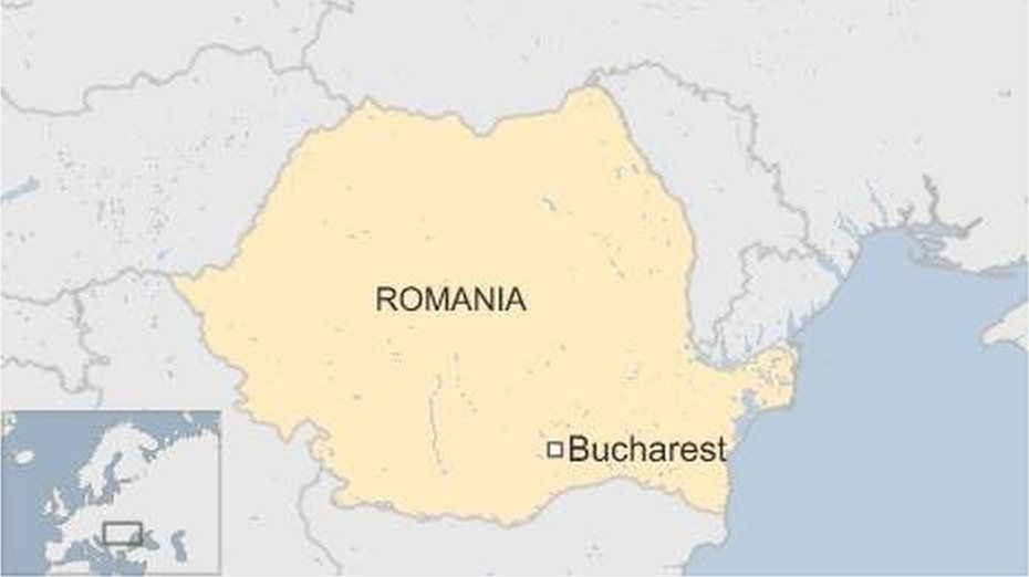 Map of Romania showing Bucharest - October 2015