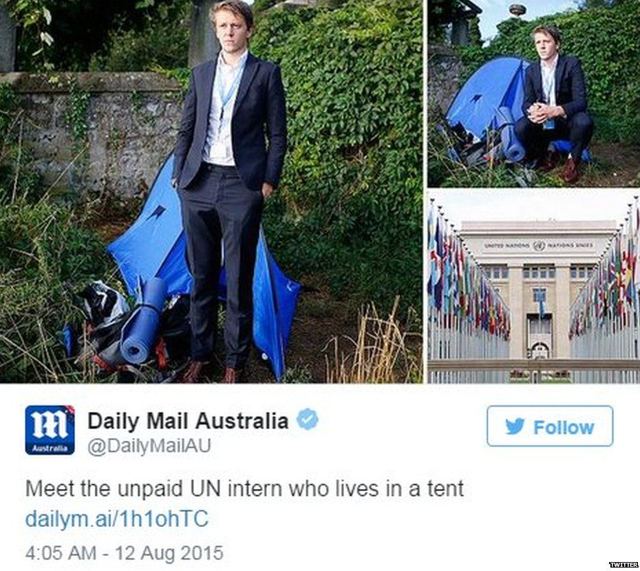 Daily Mail tweet about David Hyde, a UN intern living in a tent - August 11 2015