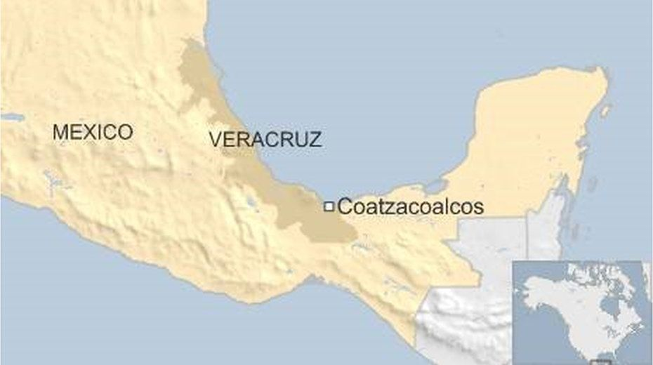 Map of Veracruz state in Mexico showing town where blast in oil plant occurred - April 2016