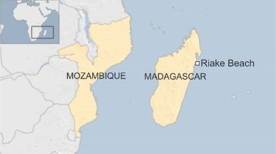 Map showing Riake Beach in eastern Madagascar, where suspected MH370 debris was found in June 2016