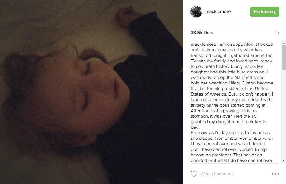 Macklemore reacted to Trump's win on Instagram