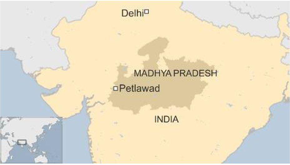 Map of India showing Madhya Pradesh and Petlawad