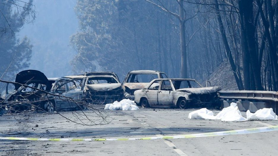 Automóviles quemados y bolsas con cadáveres en la carretera entre Figueiro dos Vinhos y Castanheira de Pera, cerca de Pedrogao Grande, en el centro de Portugal, el 18 de junio de 2017