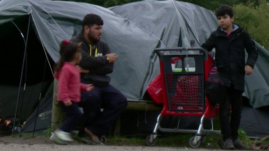 Migrants at Puythouck camp, northern France