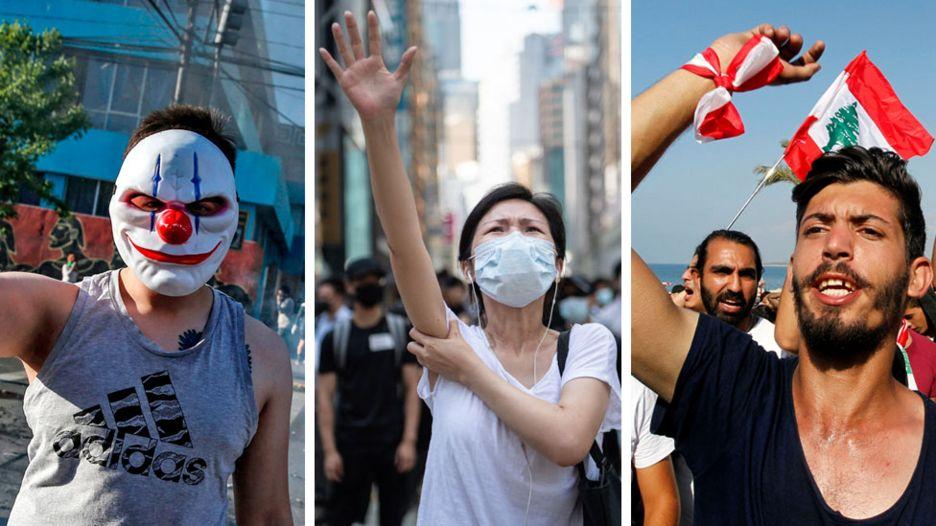 Três fotos de manifestantes no Chile, Hong Kong e Líbano