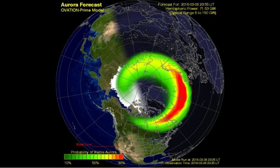 The US government's National Oceanic and Atmospheric Administration, which tracks space weather, predicted strong chances of visible aurora over the UK