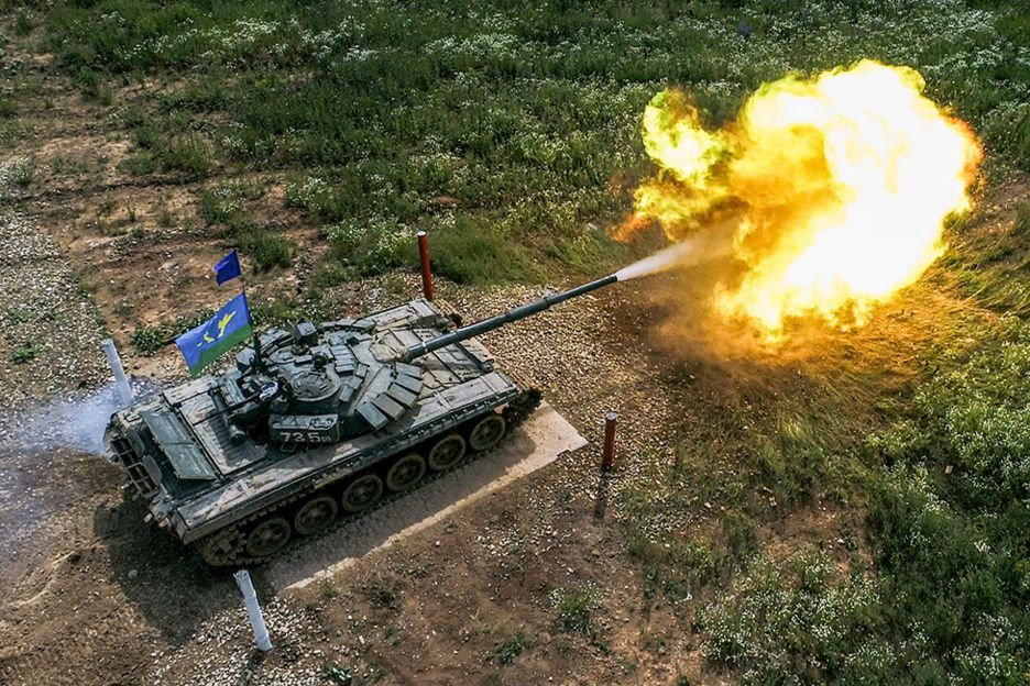 A tank opens fire