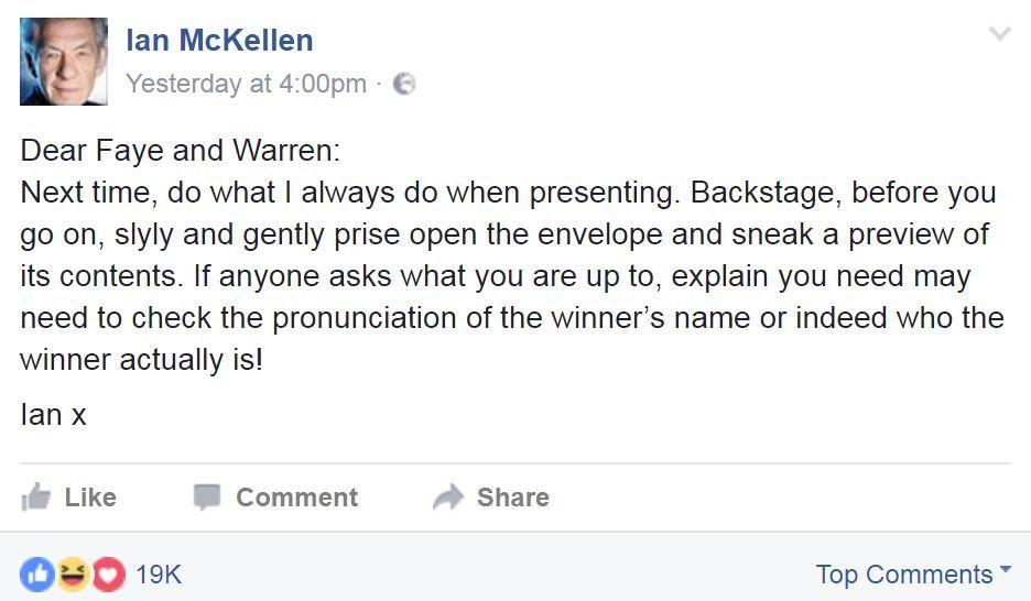Screengrab of Facebook post by Ian McKellen