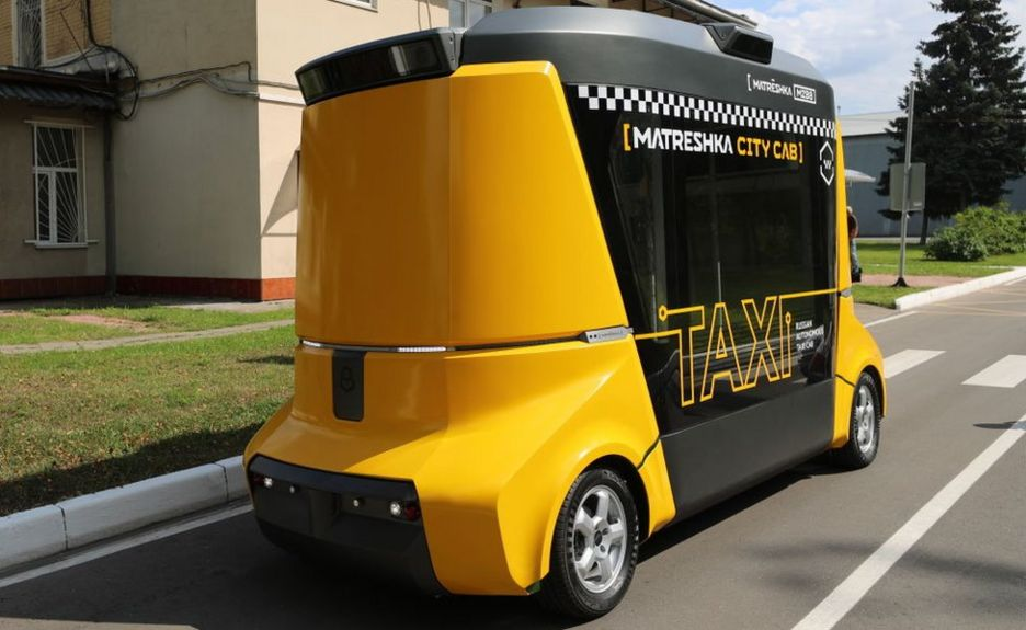 A Matreshka self-driving taxi cab performs a test drive at the first autonomous transport training ground at the Kalibr technopark