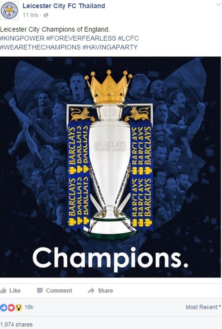Facebook post by Leicester City's official Thai page saying 'Leicester City, champions of England' - 2 May 2016