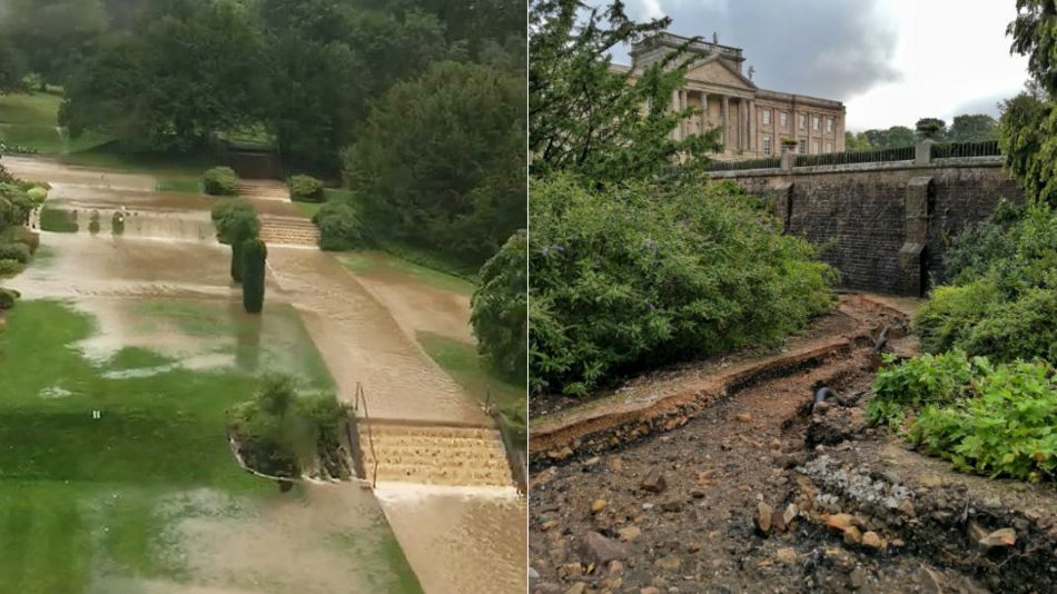 Flooding and the damage to paths at Lyme Park