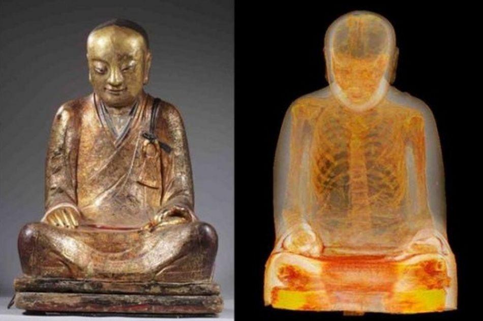 Tượng Chương Công Tổ sư Ngọc tượng nội thân đại Phật và hình x-quang có thi thể vị sư này bên trong