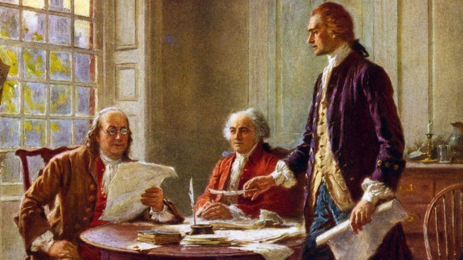 Từ trái Benjamin Franklin, John Adams và Thomas Jefferson