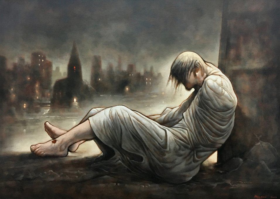 painting of a homeless Jesus in front of a city