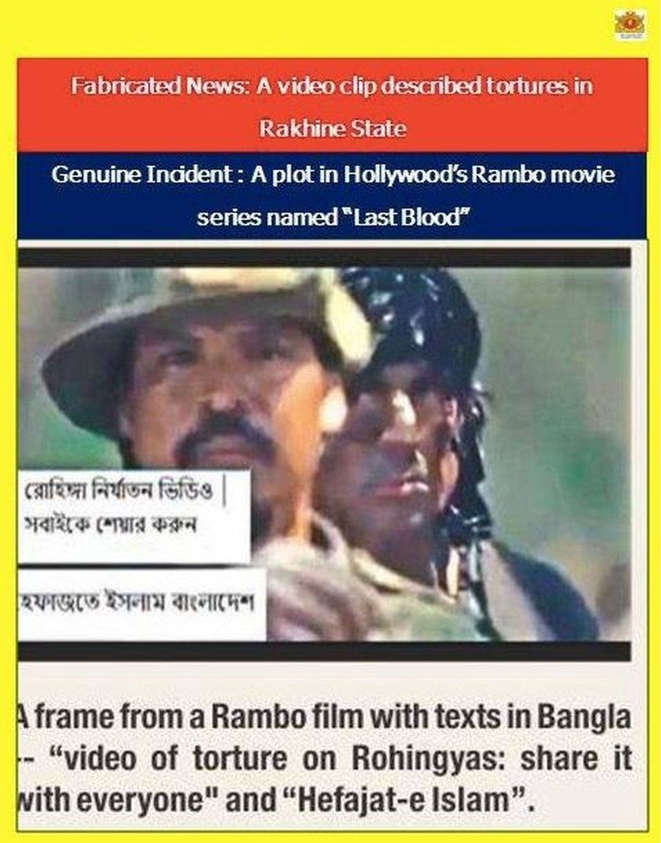 Facebook post entitled: 'Fabricated News: Video clip described tortures in Rakhine State. Genuine Incident: Plot in Hollywood's Rambo movie'